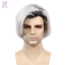Wholesale Short Straight Synthetic Wig Cosplay Silver Grey Men Hair Wig