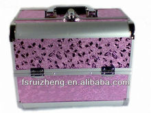 2013 New Product Beauty Purple Butterfly Cosmetic Case, w/ Extendale Trays & Aluminum Frame,RZ-AMC025