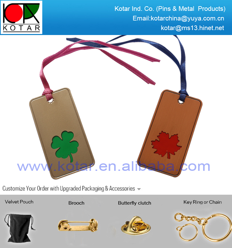 existing four leaf logo metal bookmark with enamel