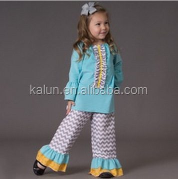 long Sleeve Dress Ruffle Shorts Outfits Boutique Wholesale Clothing Childrens Fashion 2015 Girls Outfits