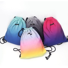 Promotional 3D digital Macaron colours print Sport sac drawstring <strong>Gradient</strong> gym training cord <strong>bag</strong> outdoor running sack backpack