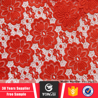 Wholesale china factory 100 polyester red net lace fabric for wedding dress