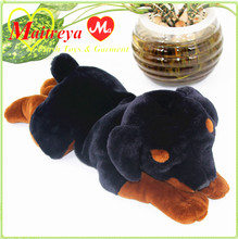 Gorgeous 45cm black brown lying puppy dog toy,soft plush lovely rottweiler dog toy