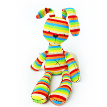 Wholesale cheap price knitted stuffed rainbow rabbit toy