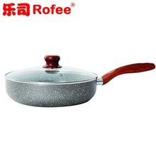 Pressed Nonstick granite Marble stone coating Fry Pan with Glass Lid and wooden handle