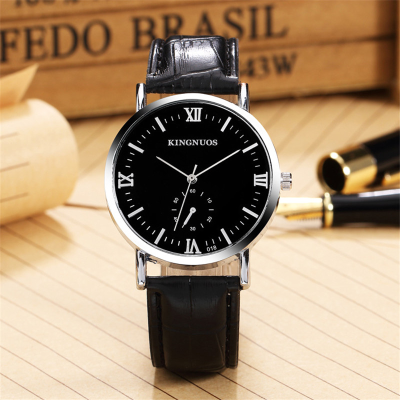 China supplier wholesale Fashion Watch 2017 Stainless Steel Case With Leather Strap Brand Watches Men Wrist male colock