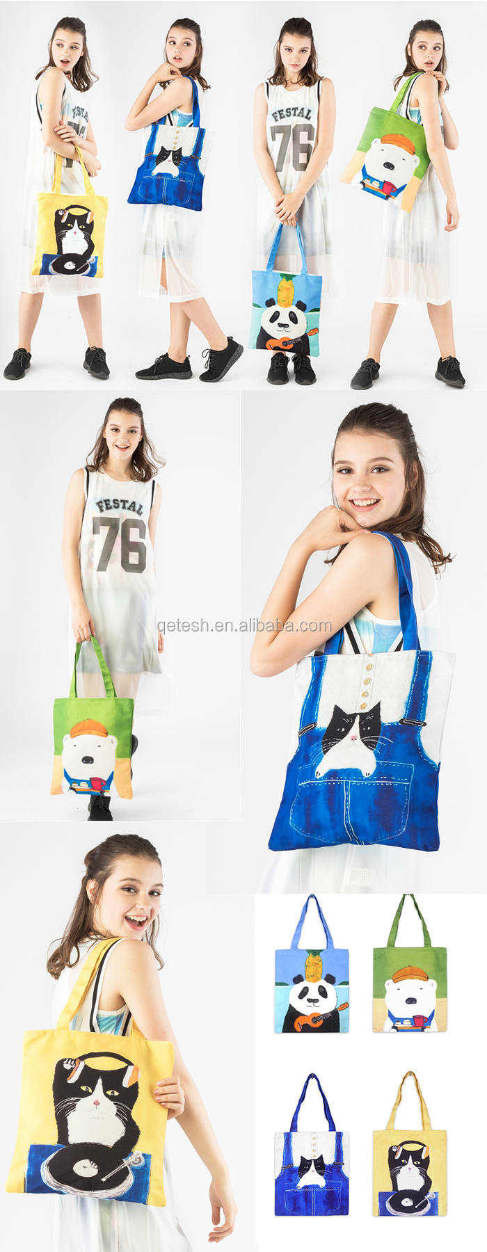 Wholesale Canvas Shoulder Promotional Women Tote Bag