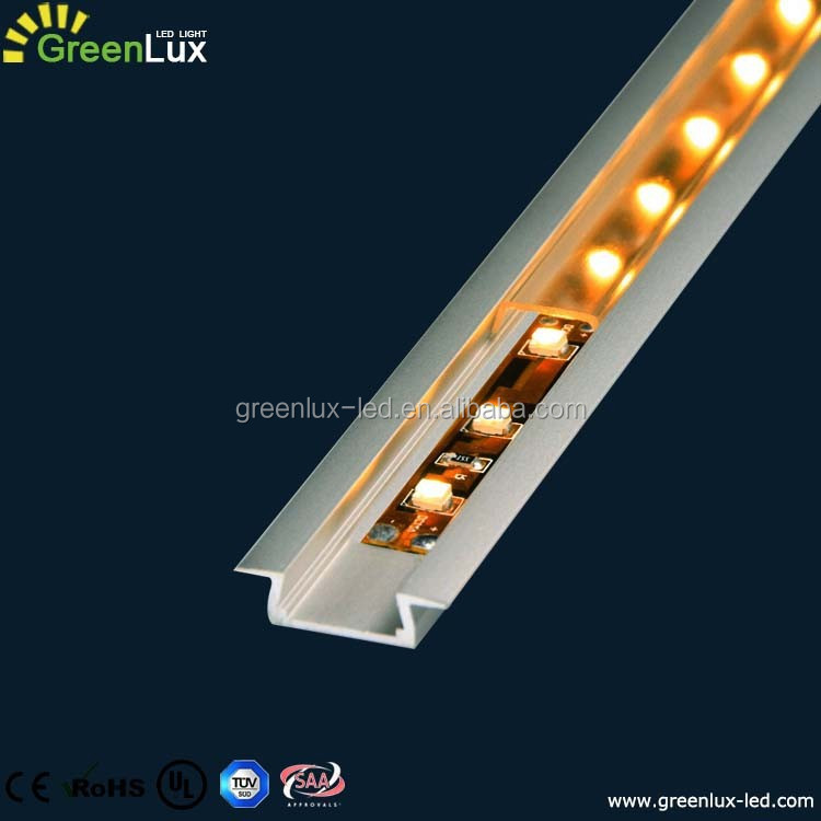 anodized aluminium profile suitable for stairs or baseboard light application with clear, opal and frosted diffuser cover
