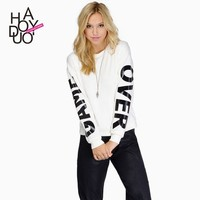 Women Fashion Casual Long Sleeve Pullover GAME OVER Print Hoodies for Wholesale Haoduoyi