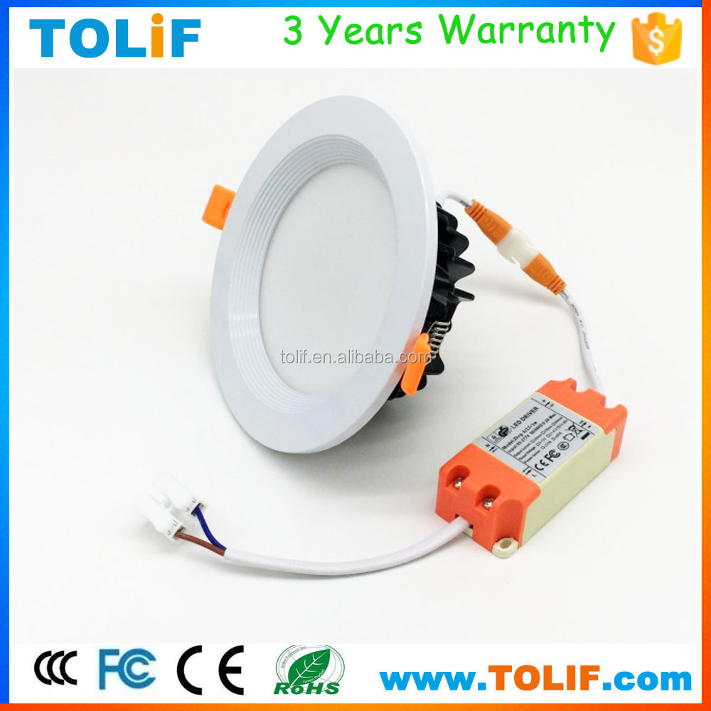 CE Rohs 12W 6 inch Warm White Ceiling Lighting Aluminium Recessed SMD LED Downlight