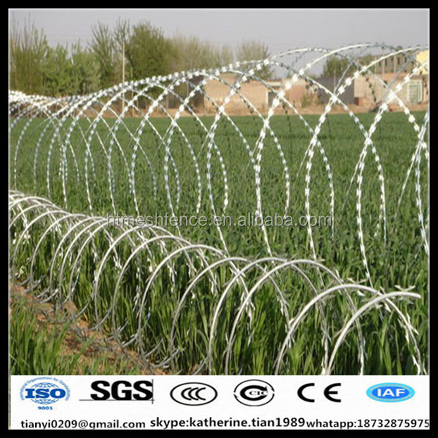 high tensile hot dipped galvanized concertina razor wire sharp blade barbed wire for security fence for sale