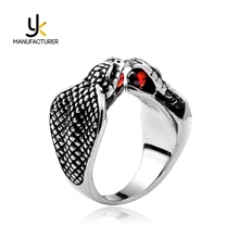 India Style Mens Two Heads Cobra Shaped Stainless Steel Red Zirconia Snake Rings Jewelry Wholesale