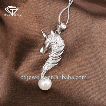 Hot products 2017 elegant freshwater pearl 925 sterling silver unicorn pendant