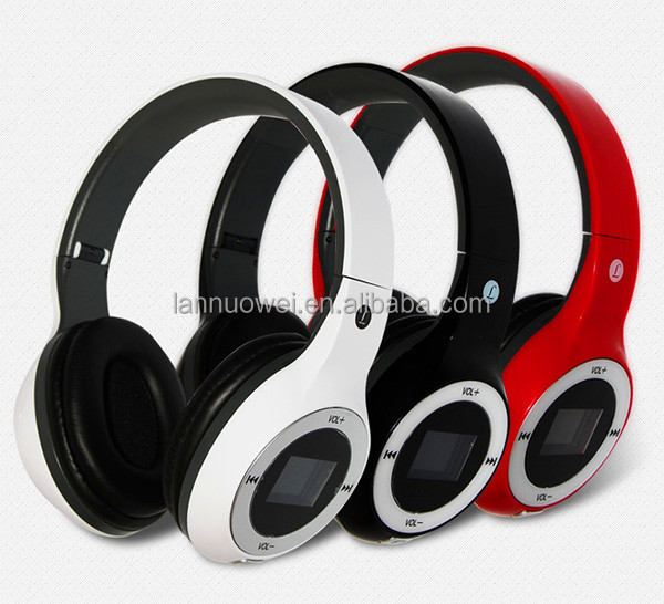 Super bass display screen gaming headset with TF Fm radio Foldable bluetooth headset