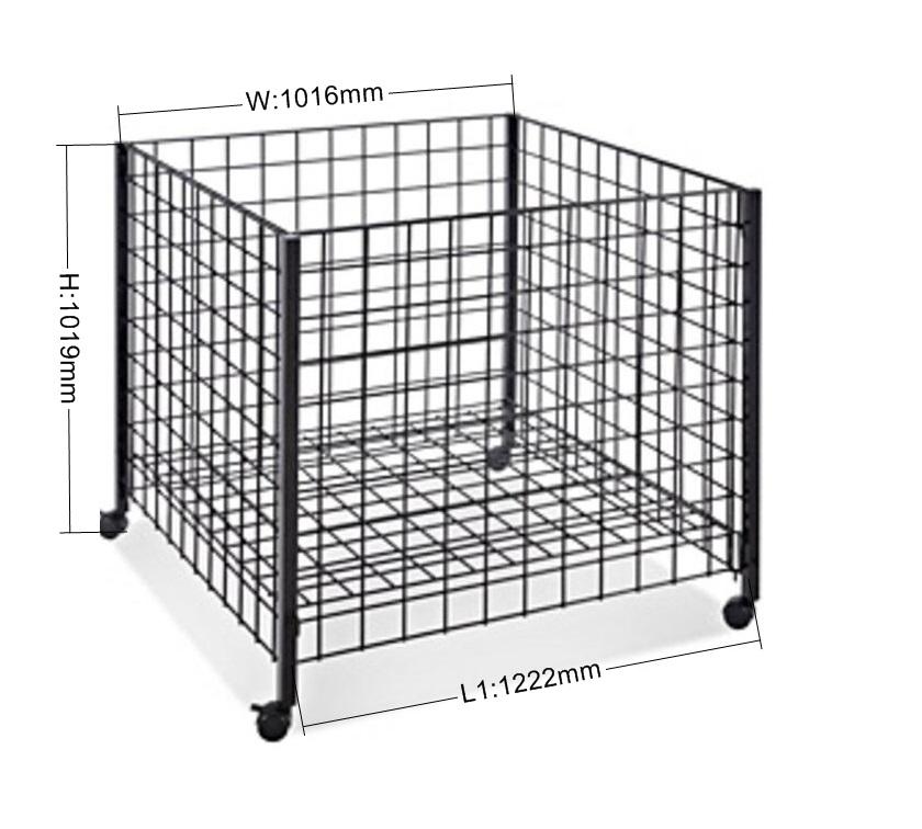 Metal Wire Basket Dump Bin For Supermarket Retail Rotating Display ...