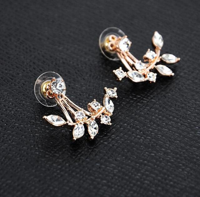 New arrival jewelry horse eye leaves Upper and lower structure earrings new fashion zircon earrings for girls