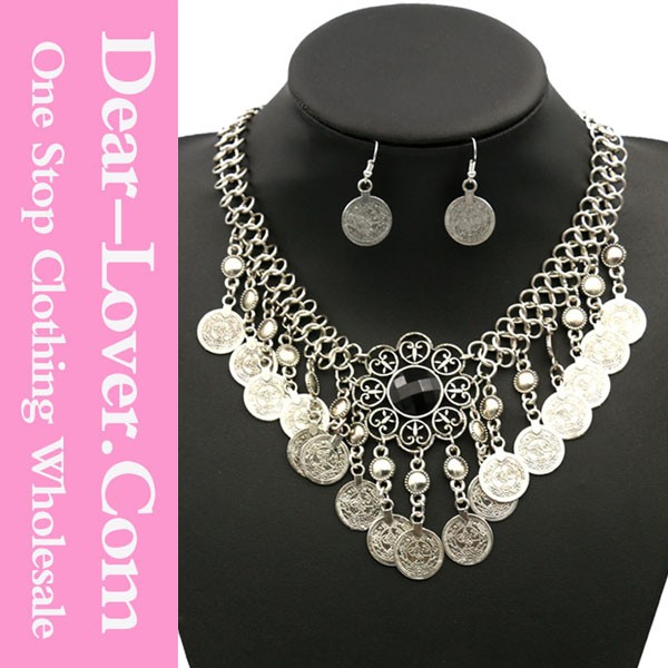 Cheap 2015 wholesale Trendy Turkish Gypsy Indian funky Ethnic Coin Chunky Necklace