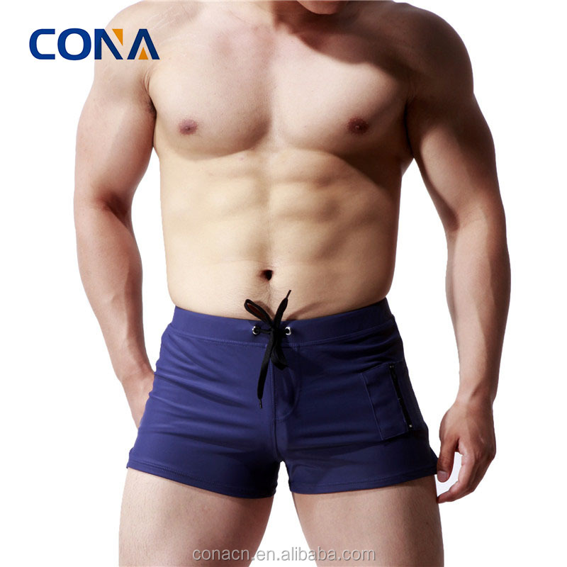 Basic Men Swimwear Solid Long Swim Trunks Black Surf Shorts Swimsuits
