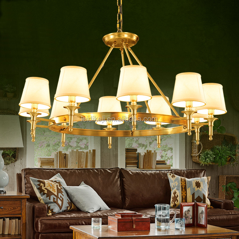 Wholesale contemporary fabric 10 light chandelier modern lighting hotel