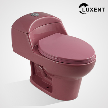Modern Porcelain Top Button Water Sense Toilet Pink Color
