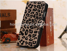 Book Style Leopard Pattern PU Leather Stand Case With Card Slot for Samsung Galaxy S4 GT-i9500
