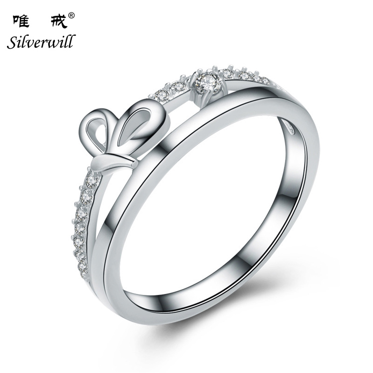 925 Sterling Silver Lovely Bowknot Design Female Jewelry Ring with Micro Paved Bow Tie CZ Stones