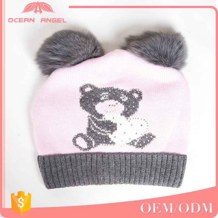 Best selling products children knitting winter knit kids beanies hats with pom pom