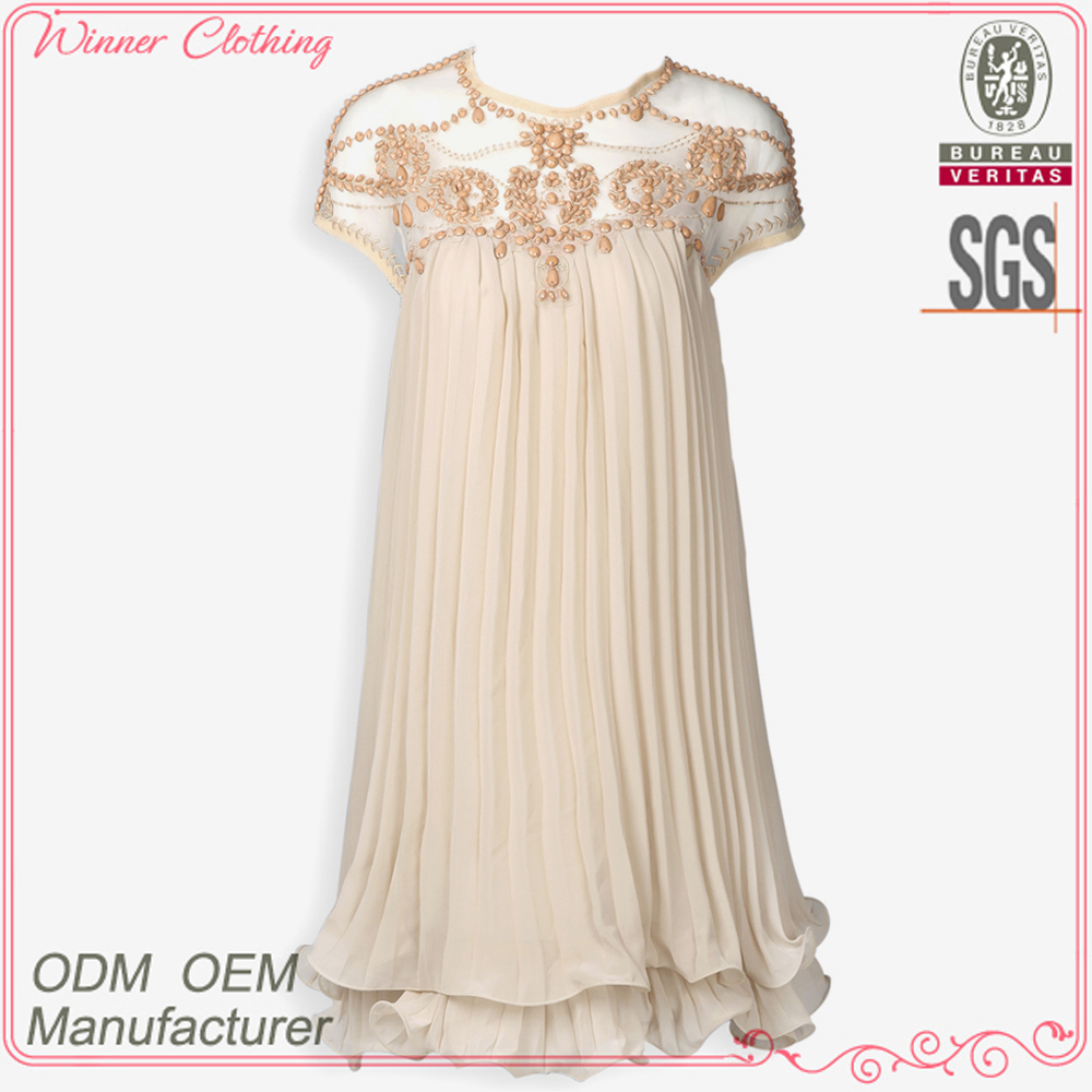ODM&OEM manufacturer ladies' loose-fitting pleated bali summer dresses with laced neck