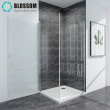 Hangzhou Hinge Pivot Square 180 Swing Door Shower Wall Fixed Side Wall Bathroom Nano Frameless Glass Shower Enclosure