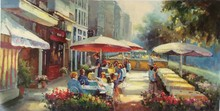 Outdoor Restaurant Shop Canvas Oil Painting Bar Food Store Wall Art Deocration