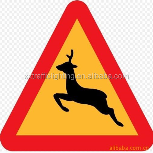 Warning Deer Road sign ,No Bicycles road sign,Workman Ahead Road sign