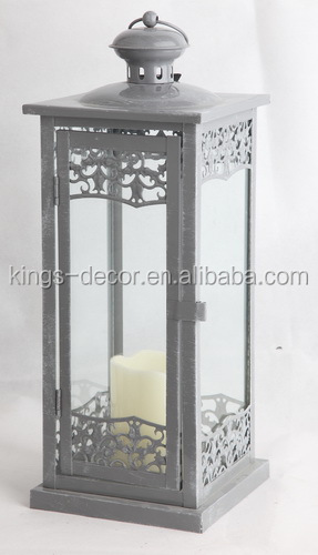 Grey decor square metal candle lantern,candle holder