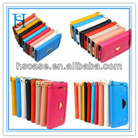PU leather phone case for Apple Iphone 4s/5s&Taiga Leather Smart Phone Case with mobile phone lanyard and mirror