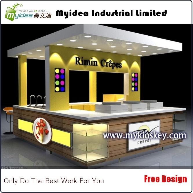 Netural wood design indoor crepe food kiosk for sandwich for Indoor food kiosk design