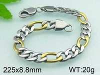 20g 225x8.8mm Stainless Steel Chain Jewelry 18K Gold Plated Fashion Men's Bracelet