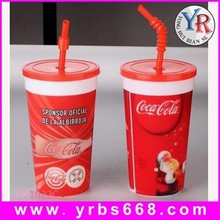temperature sensitive color changing plastic cup with lid and straw
