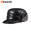 Custom winter flat top fur cap genuine black leather military fitted hat with ear flaps