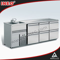 Beautiful Commercial Stainless Steel Electric Beer Bar Chiller Or Fridge With 2 Sink 6 Drawers