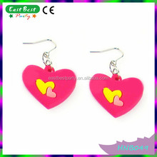 Hot Pink with Yellow Sweety Heart Shapes Hen Night Cheap Earrings
