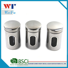 Set of 3 Stainless Steel Tea Coffee Sugar Canisters with Window