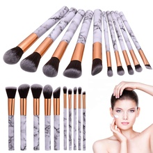 Beauty and Personal Care Cosmetic 10pcs Marble Makeup Brush Set