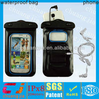 Black waterproof pvc phone bag with string for samsung