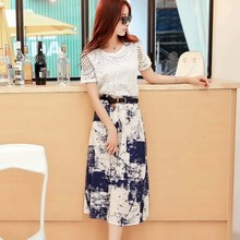WA1523 2015 women dress long section cotton two-piece dress skirts women dress