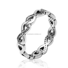 European 925 Sterling Silver Cubic Zirconia Infinite Love Rings for Woman