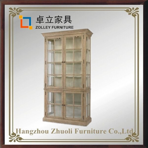Luxury Tall shop cabinet commercial furntiure wood whisky display cabinet