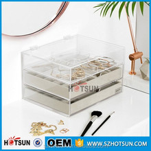 transparent acrylic drawer makeup organizer cosmetic display for retail