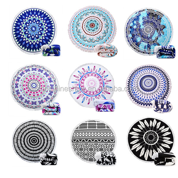 Thick Round 100% Cotton Custom Mandala Printed Beach Blanket With Fringe Tassels