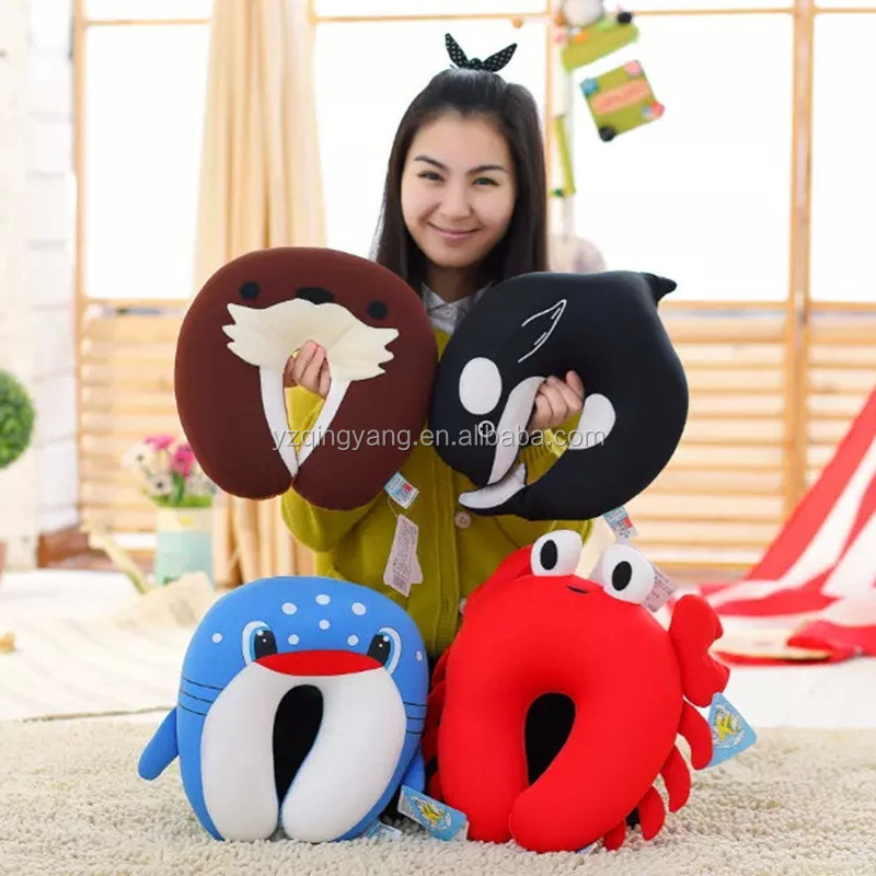soft marine animals neck pillow with foma beads stuffing sea animals travel pillow