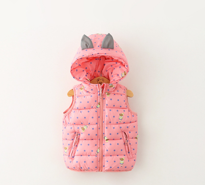 Winter/Fall/Spring Frog Print/Dot Hooded Kids/Children Vest Coat Fashion Quality Girl Waistcoat/Jacket  Clothes For girls Baby