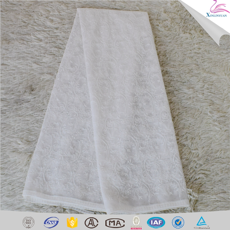 Customized eyelet scalloped edged net lace fabric
